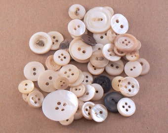 50 Mother Of Pearl Flat Buttons - Mixed Pearl Sewing Buttons - MOP Craft Buttons - Shell Button Mix - Crafting Buttons - Assorted Button Mix