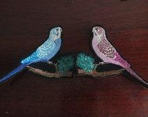Budgies, Australian birds iron on patches