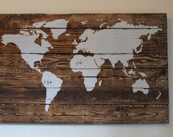 FREE SHIPPING! Antique WHITE coloured Pallet wood, repurposed, travel, world map