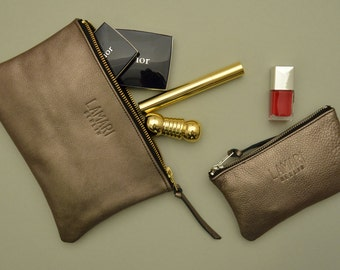 Leather Cosmetic Pouch Wallet JUNE SMALL Bronze