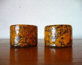Italian Pottery Candle Holders Mid Century Modern Home Decor Mid Century Modern Italian Pottery Orange Pottery Volcanic Drip Glaze