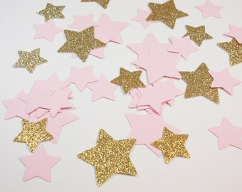 Twinkle Twinkle Little Star Confetti, Glitter Gold & Baby Pink Stars, Table Decor, Party Decoration, 100 Ct.