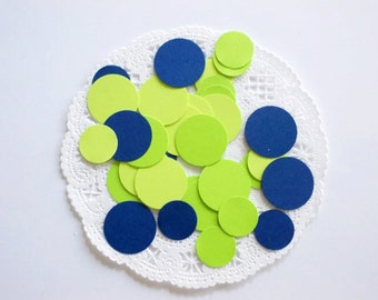 Lime Green & Navy Circle Confetti Die Cuts Birthday Party Baby Shower Table Decor Color Choice Mixed Size  220