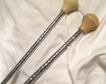 Two 1950s Vintage Majorette Batons - Band Baton - Baton Twirler - Cheerleader - Flag Twirler - Twirling