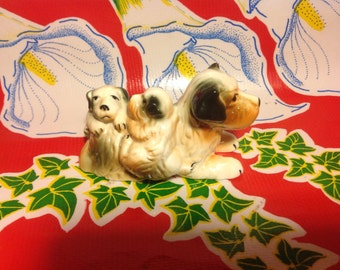 Vintage ceramic hand painted terrier and puppies figurine