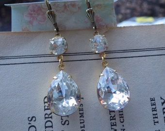 Crystal Earrings ~ Bridal Jewelry ~ Large ~ Estate Style ~ Vintage Glass ~ Modern Style ~ by LadyofTheLakeJewels