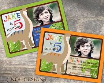 Brontosaurus Prehistoric Dinosaur Theme Birthday Invitation Card- Printable File