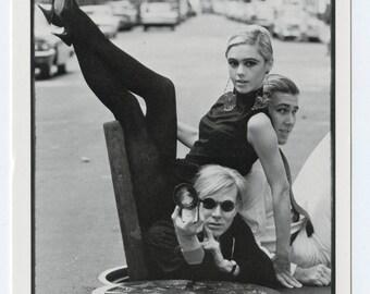 Postcard Andy Warhol, Edie Sedgwick, Chuck Klein, New York City by Burt Glinn