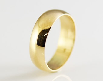 Vintage 14K Yellow Solid Gold Half Round 6.5mm Wide Band Size 10