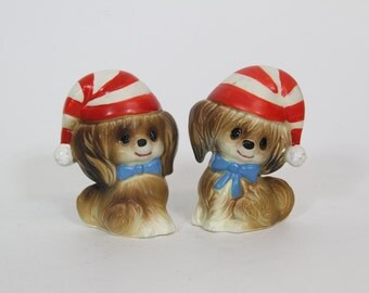 Vintage Kitsch Christmas Puppy Dog Salt and Pepper Shakers, Japan