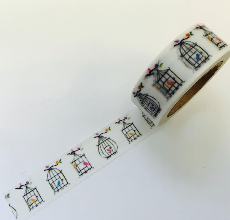 Vintage Birdcage Birds Paper Washi Tape Stickers Planner