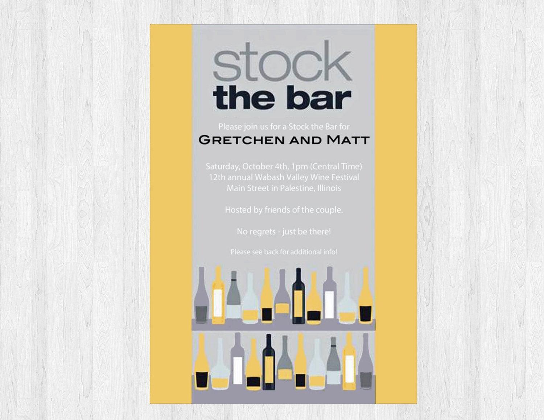 stock the bar wedding shower invitation stock the bar
