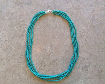 Turquoise choker seed beaded necklace. Multi-strands, modern, layering necklace. 16 inches long...4 strands