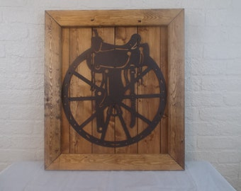 Rustic Framed Metal Wagon Wheel With Saddle