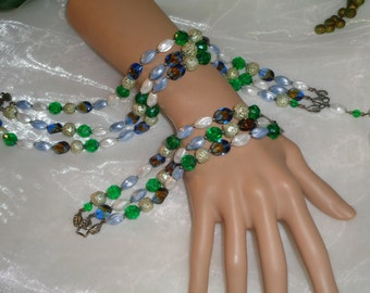 DEAUVILLE Signed 3 Strand Green Blue Brown White Antiqued Brushed Silver Beaded Necklace Matching 3 strand Bracelet