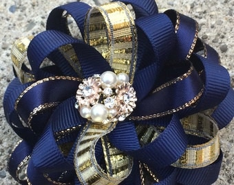 Ribbon Flower Boutique Hair Bow, Navy Blue and Gold stacked Ribbon Flowers with Jewel centeholiday hair bow,,