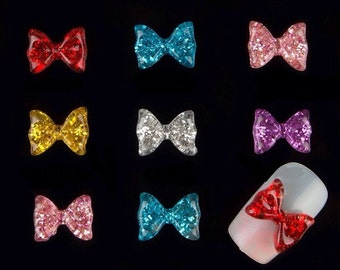 5 Mixed Color Resin Glitter Bow Nail Charms