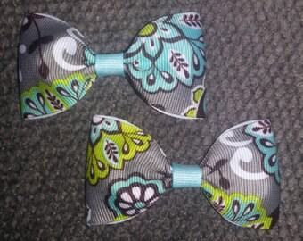 Aqua Paisley Handmade Pigtail Bow Set