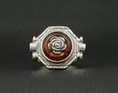 Pressed Amber & Garnet Ring Rose Style 925 Sterling Silver Greek Handmade Art Unique