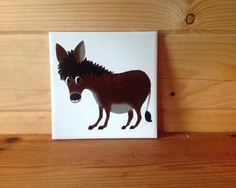 "Original Kenneth Townsend Ceramic Tile 1960's Menagerie ""Donkey"" Screen Printed. Excellent Condition."