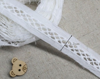 14Yds Broderie Anglaise lace trim 1.7cm(Net 0.8cm) Off-White YH875s laceking2013