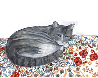 Cat and Quilt  8x10 print