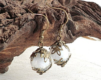 Snow Globe Earrings, Snowball, Winter Holiday Gift, Snowflakes, Bronze