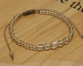 Crystal Friendship Bracelet, Gold Bead Bracelet, Adjustable Cord Bracelet, Gold Friendship Bracelet, Seed Bead Bracelet, Gold Boho Bracelet