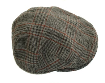 Vintage Hat Faustmann checked cap wool size 52 cm shepherd's plaid
