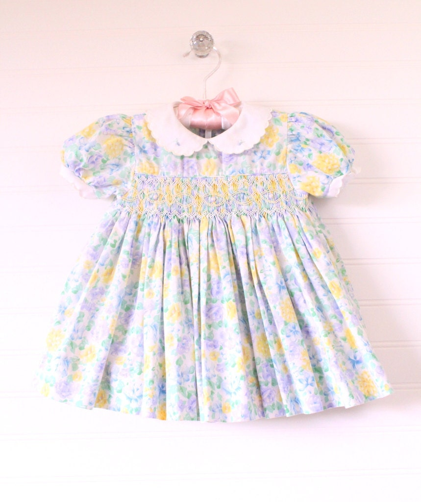 Vintage baby dress blue purple yellow floral smocked WITH