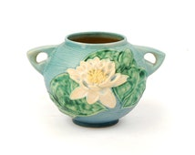 Vintage 1940's Roseville Pottery Two Double Handled Blue Water Lily Floral Painted Planter Pot Bowl Home Decor