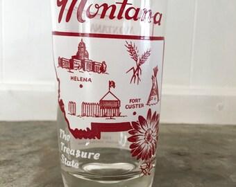 Vintage Montana State Souvenir Glass Mid Century State Barware Glass Vintage Montana Collectible Glass Vintage Montana Gift Idea