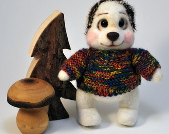 Needle Felted Hedgehog Chuck in a Sweater