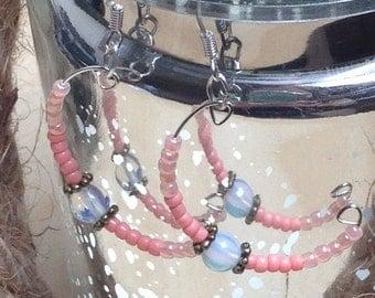 Coral colour boho style hoop earrings
