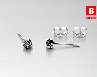 925 Sterling Silver Oxidized Earrings , Knot Earrings, Stud Earrings, Size 3 mm (Code : E36G)