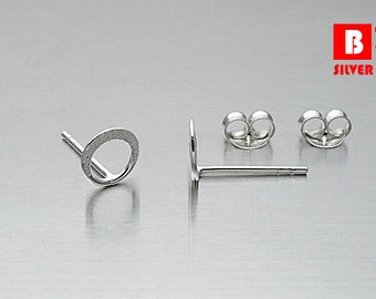 925 Sterling Silver Earrings, Round Earrings, Stud Earrings, (Code : EG53B)