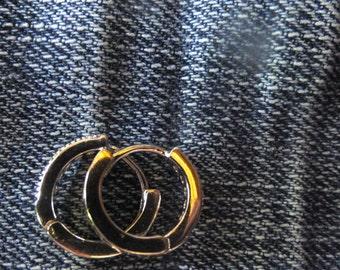 Sterling Silver and CZ Hoop Earrings