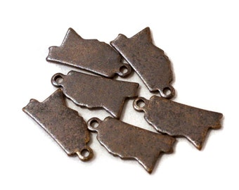 6x Antique Brass / Brown Patina Blank Mississippi State Charms - M073/AB-MS
