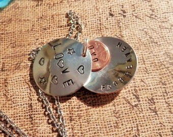 Personalized Penny Locket, Hand Stamped Locket, Pennies From Heaven Necklace, Memorial Gift, Gifts for her, Personalized Memorial Locket