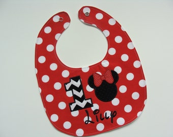 Minnie Mouse birthday personalized bib for baby girl first birthday in red polka dot