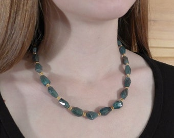 Blue Green Apatite Gemstone Necklace and Earring set