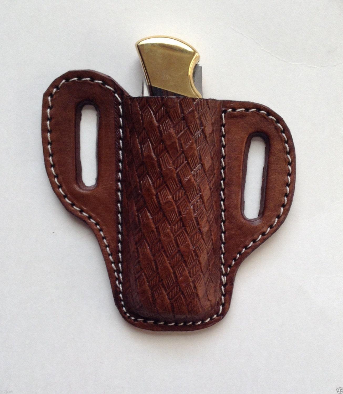 Custom Brown Pancake Sheath for the Buck 110 Folding Hunting