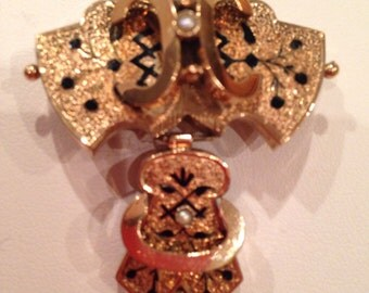 Victorian 14KT Gold Drop Pendant/Pin With Black Enamel & Pearls