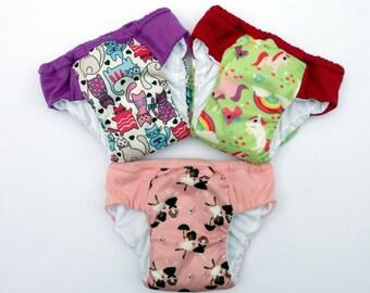 Set of three waterproof training pants, eco friendly cloth pull ups, cloth pull up, potty training underwear, outdoor training pants
