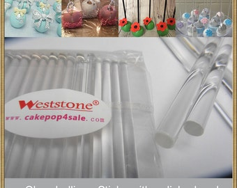"50pcs 6"" (15cm) Crystal Clear Lollipop Sticks For Cake Pops or Lollipop Candy - Solid acrylic"