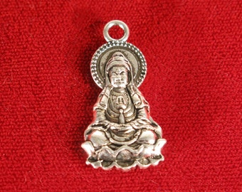 "BULK! 15pc ""Buddha"" charms in antique silver style (BC1084B)"