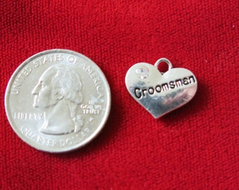 "BULK! 15pc ""Groomsman"" charms in antique silver style (BC697B)"