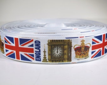 "5 yards of 1 inch ""England"" grosgrain ribbon"