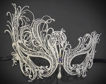 Exclusive White Glitters and Color Rhinestones Masquerade Mask by 4everstore