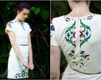 Ivory short embroidered dress